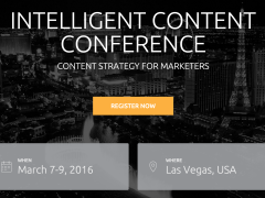 I'm Speaking at Intelligent Content Conference 2016